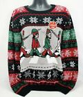 Abbey Road Beatles Elves Tacky Men's Ugly Christmas Sweater - Lights Up - M