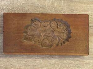 Wood Carved Rice Cake Mold Flower Signed on Back Asian Japanese?