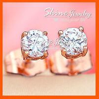 18K ROSE GOLD GF 1CT ROUND STUD EARRINGS LADY GIRL KID WEDDING SIMULATED DIAMOND