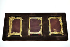 "3 VINTAGE ART NOUVEAU BRASS FOOTED LADY PICTURE FRAMES MADE IN ITALY 3-3/4"" x 3"""