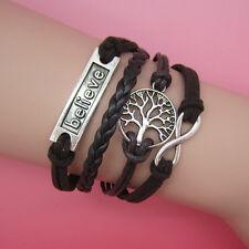 New Charm Leather Infinity Braid Bracelet with Believe Peace Tree Silver B