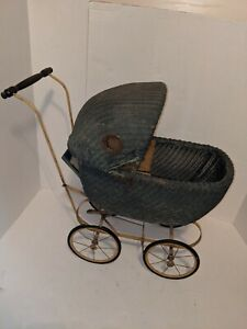 Antique Wicker Vintage Baby Doll Buggy Stroller Metal Frame Brakes Pram Green