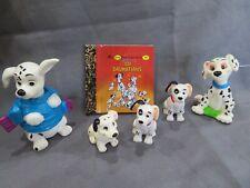 Vintage Disney's 101 Dalmatians Pvc Rubber Figure Lot +Little Little Golden Book