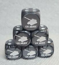 Dice>Chx Custom U.S. Army Tank>>restocked! Six/set>Velvet Silver w/White #1 Tank