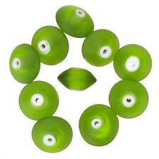 Donut Shape Matt Frosted Green Glass Beads 16mm Pack of 10 (A97/1)