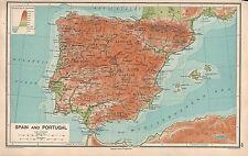 1931 España & Portugal físico mapa ~ ~ Castilla Andalucía GRANADA Lisboa Madrid