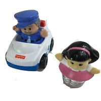 Fisher Price Little People Cop Police Man Figurine With Car & Sonya Lee 2000