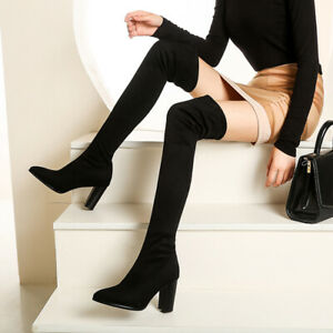 Womens Casual Pointed Faux Suede Block Heel Boot  Slim Stretch Over The Knee Boo