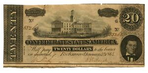 CONFEDERATE STATES of America 1864 $20 T-67, small tiers on tap