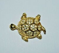 Vintage signed gold tone turtle brooch, made in USA