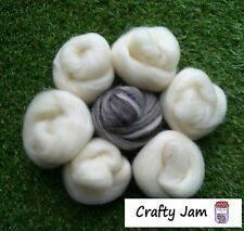 Needle Felting Natural White & Blend Ideal for Animal Projects, Felting Wool 45g
