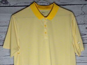 Nike Golf Dri Fit Performance Yellow Striped Golf Polo Shirt Mens L
