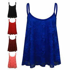 New Ladies Womens Sexy FLORAL LACE Sleeveless Swing Tank Strap Vest Top SM & ML