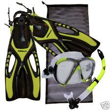 Adult Free Diving Snorkeling Mask Semi-Dry Snorkel Fins Bag Gear Package Set