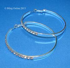 LARGE 6cm HOOP EARRINGS WITH DIAMANTE CRYSTAL DETAIL WEDDING PROM BRIDAL BLING