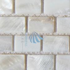 Madre de perla Azulejos de mosaico del lecho del río de la naturaleza de concha de perla mosaicrectangle Blanco