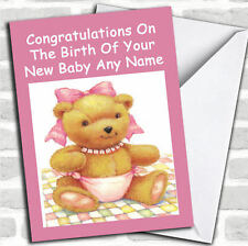 Pink Cute Teddy Girl New Baby Customised Card