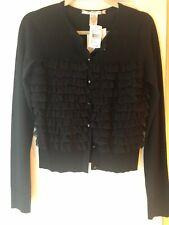 DVF Diane Von Furstenberg Black Cardigan Sweater Wool Silk Ruffle NWT Small S