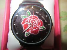 Betsey Johnson Embroidered American Beauty Red Rose Black Watch NIB 50% OFF
