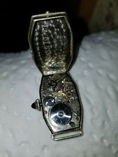 Antique 14 KT WHITE GOLD WOMAN'S  2 diamonds WATCH bulova 4.4 grams