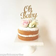 OH BABY Gold Glitter Cake Topper, Baby Shower Cake Topper Cup cake Decoration