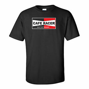 MOTORBIKE-CAFE RACER-BUILT NOT BOUGHT-CLASSIC-BIKER-VINTAGE-RETRO- BLACK T-SHIRT