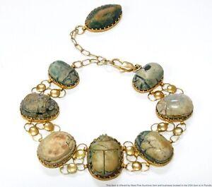 Unique 14k Gold Scarab Beetle Bracelet Ladies Antique Egyptian Revival Adjusts