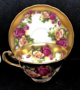 STUNNING ROYAL CHELSEA CHINA TEA CUP & SAUCER GOLDEN ROSE