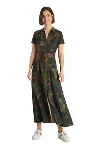Desigual Amsterdam Long Khaki Camouflage Jungle Print Maxi Shirt Dress 21WWVN02