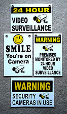 (4) 24 Hour Video Surveillance Smile You're on Camera Security Signs 8x12