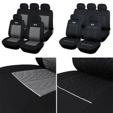 Black +Gray  Car Seat Covers Front Rear Full Set Synthetic Leather Auto 5 seat