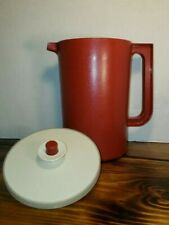 Vintage Tupperware Pitcher red Jug with Almond Seal lid. Two quarts.