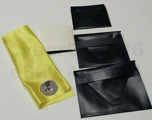 NEST OF 3 WALLETS TRICK SIGNED COIN OR RING APPEARS IN A SILK & NEW MAGIC WALLET