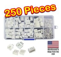 250pc JST-XH Kit 2p 3p 4p Pin 2.54mm Terminal Housing PCB Header Wire Connectors