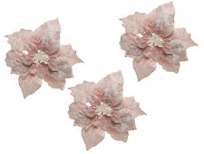 3 x Pale Pink Clip on Poinsettia Christmas Tree Flower Decorations 16 cm