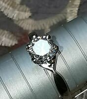 1.5ct Round Cut Vintage Diamond Solitaire Ring Engagement 18ct White Gold Over