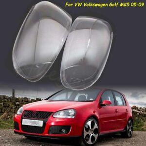For VW Volkswagen Golf 5 MK5 05-09 Front Headlight Headlamp Lens Cover Pair UK