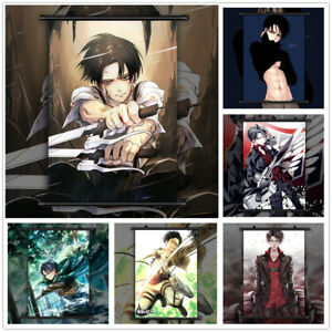 Attack On Titan Levi Ackerman Anime Wall Art Poster Scroll Home Decoration