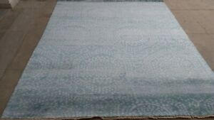 Silk Area Rug Hand Knotted in Polka Pattern, Blue Color Soft Rug 8x10 -7020