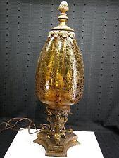 Large Vintage Amber Crackle Glass Brass Table Lamp