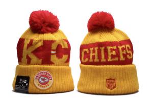 Kansas City Chiefs NFL Football Beanie Warm Pom Knit Cap Hat Fleece lined