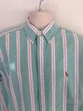 Ralph Lauren Blake Green, White & Pink Stripe Short Sleeve Dress Shirt-Large