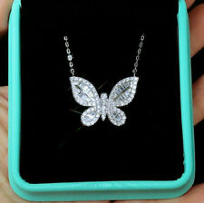 Butterfly Party Wear Engagement & Wedding Pendant 14K White Gold 3.1 Ct Diamond