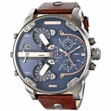 Diesel Men's DZ 7314 The Daddies Series Stainless Steel Watch with Brown Leather