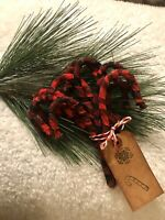 Primitive Buffalo Red Check Rustic Christmas Candy Cane Ornaments Set Of 12