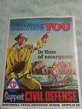 "Vintage Original 1956 Support Civil Defense Boy Scout Poster 14"" x 11"" unused"