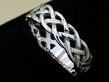 s R005 Genuine 9ct SOLID White Gold KELTIC Celtic Wedding  Band Ring size 10.75