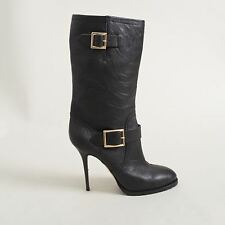 Jimmy Choo Leather Motorcycle Galen Stiletto Boots - Size 41
