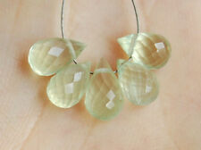 Natural VSI Green Prehnite Faceted Teardrop Briolette Gemstone Beads