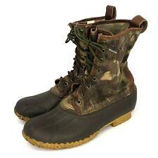 """L.L. Bean Camo Boots Signature Waxed Canvas 10"""" Hunting Shoe Men's Sz 9M"""